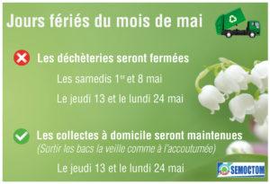 Jours fériés de mai et services du Semoctom